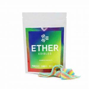 Ether Edibles Rainbow Sour Belts