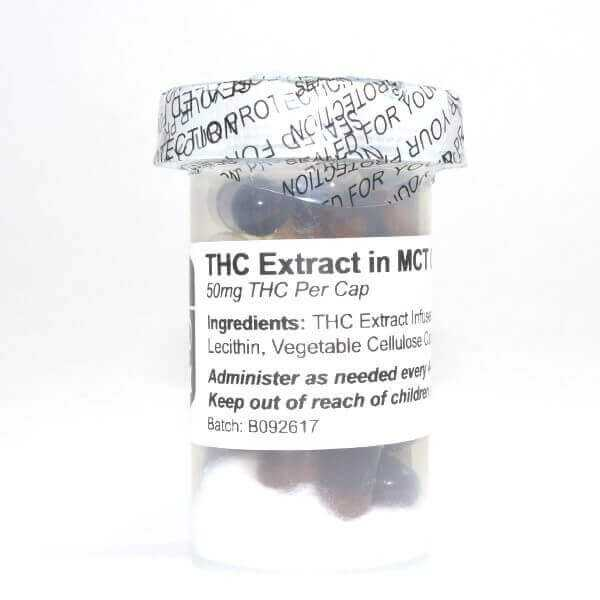 50mg THC Capsules – THC Extract in MCT Oil (20 Pack) (Baked Edibles)